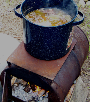 Cooking bean soup off grid