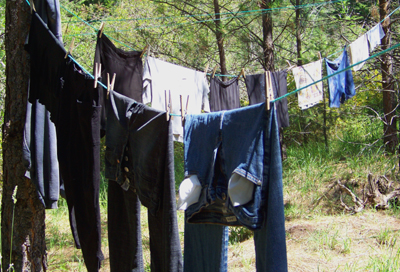 line dry laundry in the sun